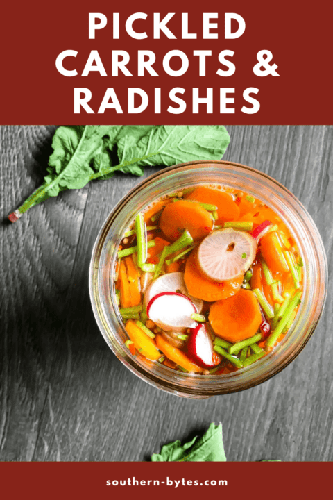 a pin image of a jar of pickled carrots and radishes