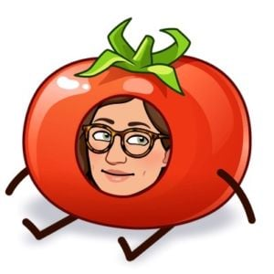 a bitmoji of a face on a tomato