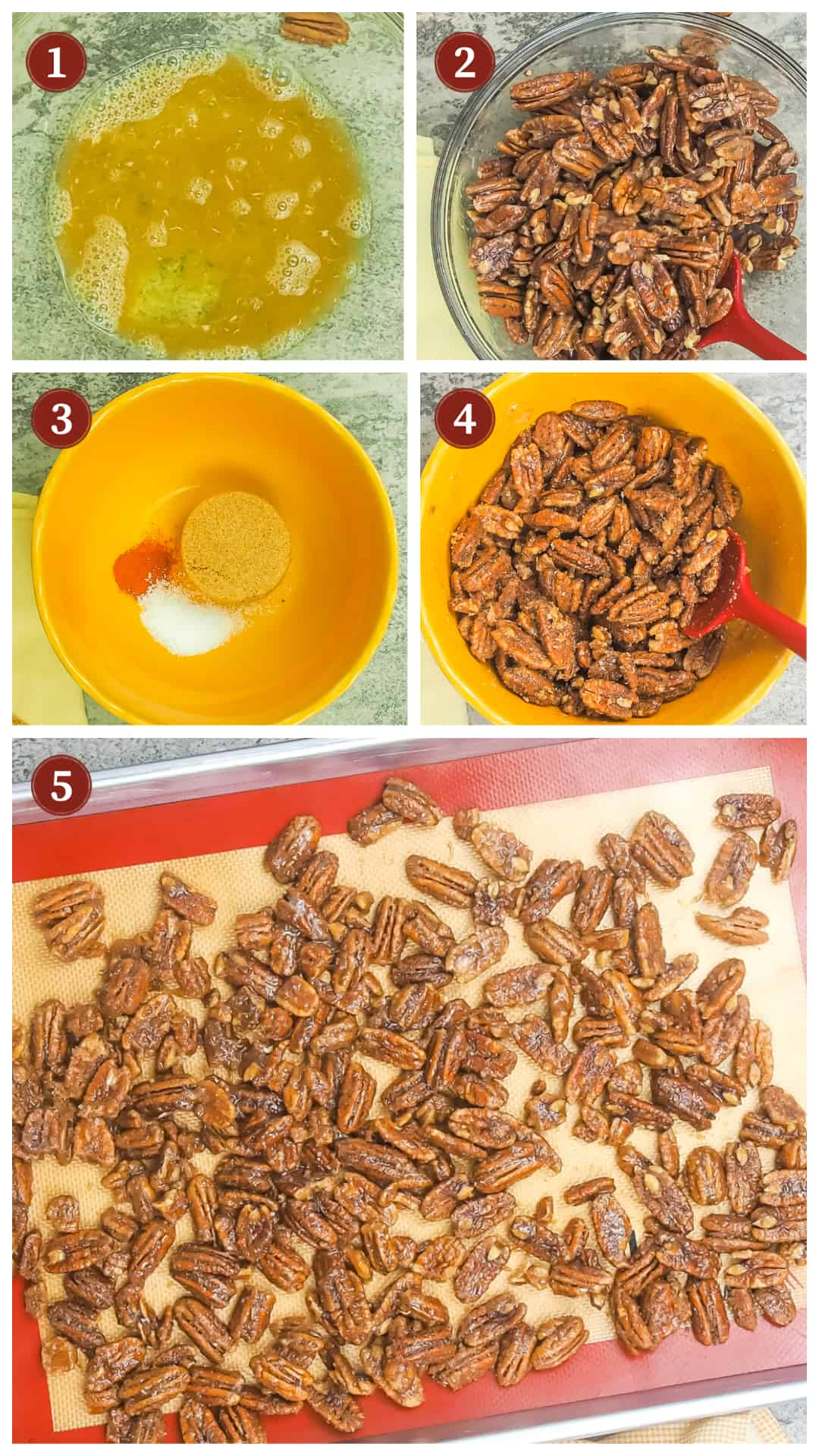 a process of images showing the steps to make candied pecans, steps 1 - 5.