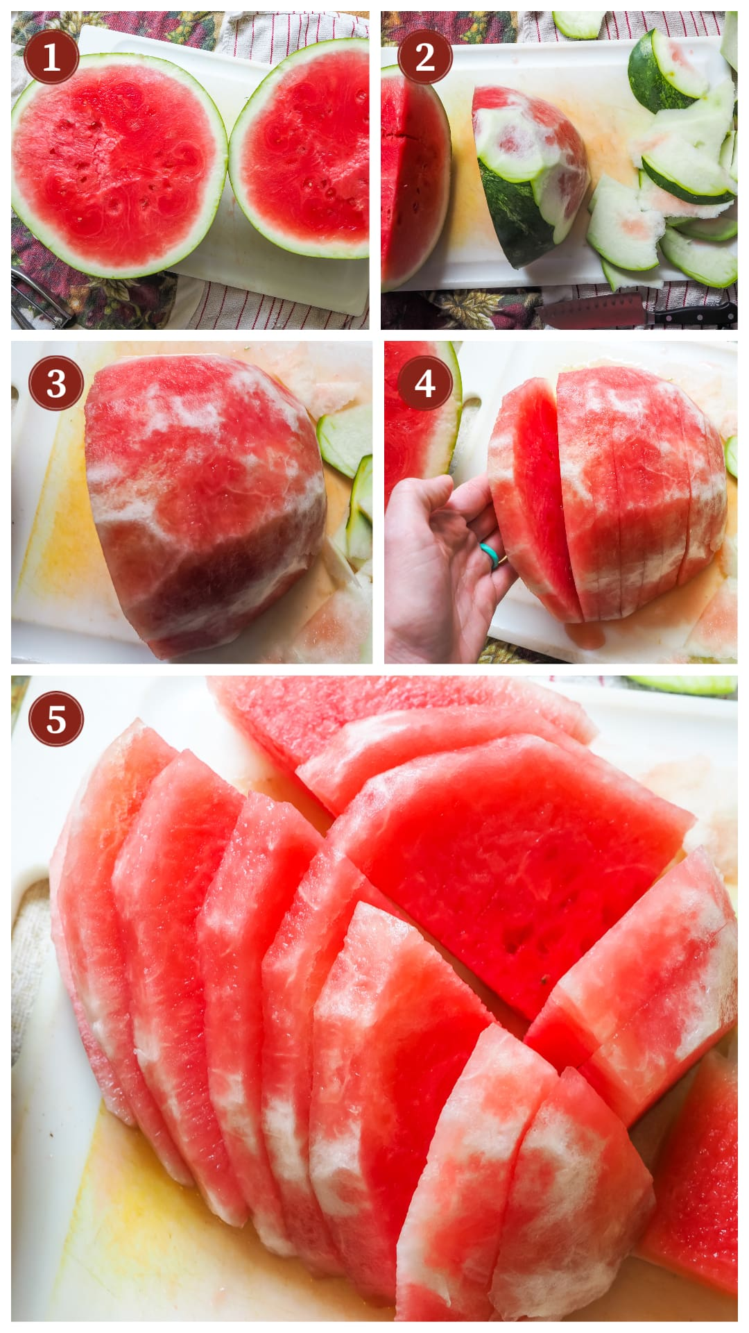 A collage of images showing the process of making dehydrated watermelon, steps 1 - 5.