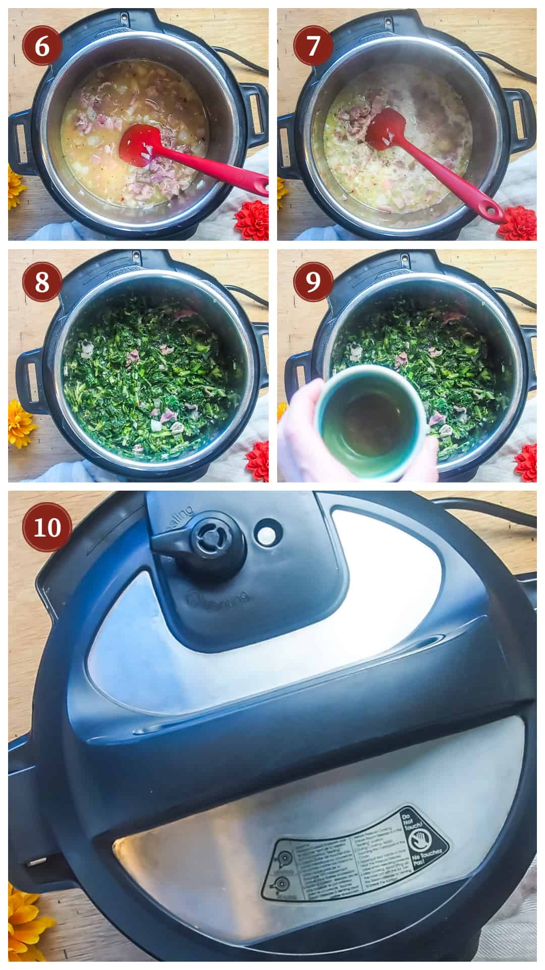 a collage of images showing the process of making collard greens in an instant pot, steps 6 - 10