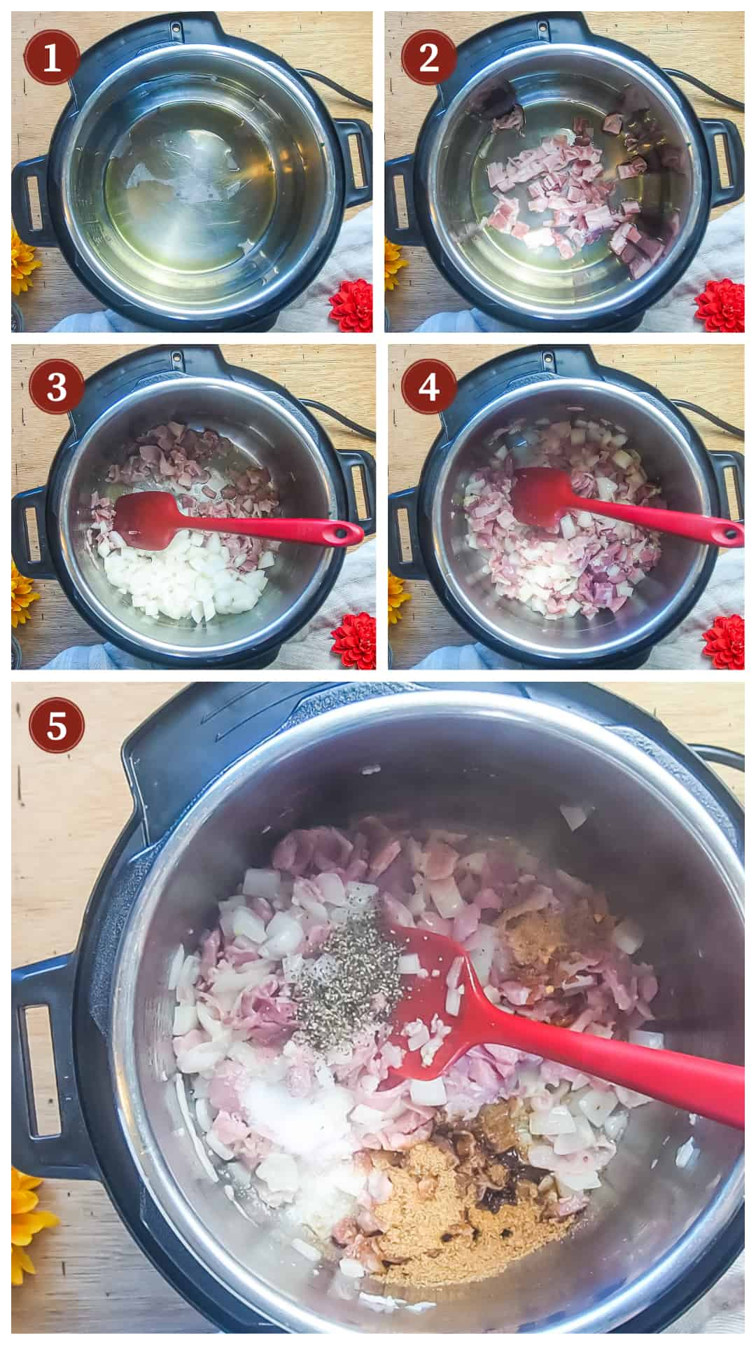 a collage of images showing the process of making collard greens in an instant pot, steps 1 - 5