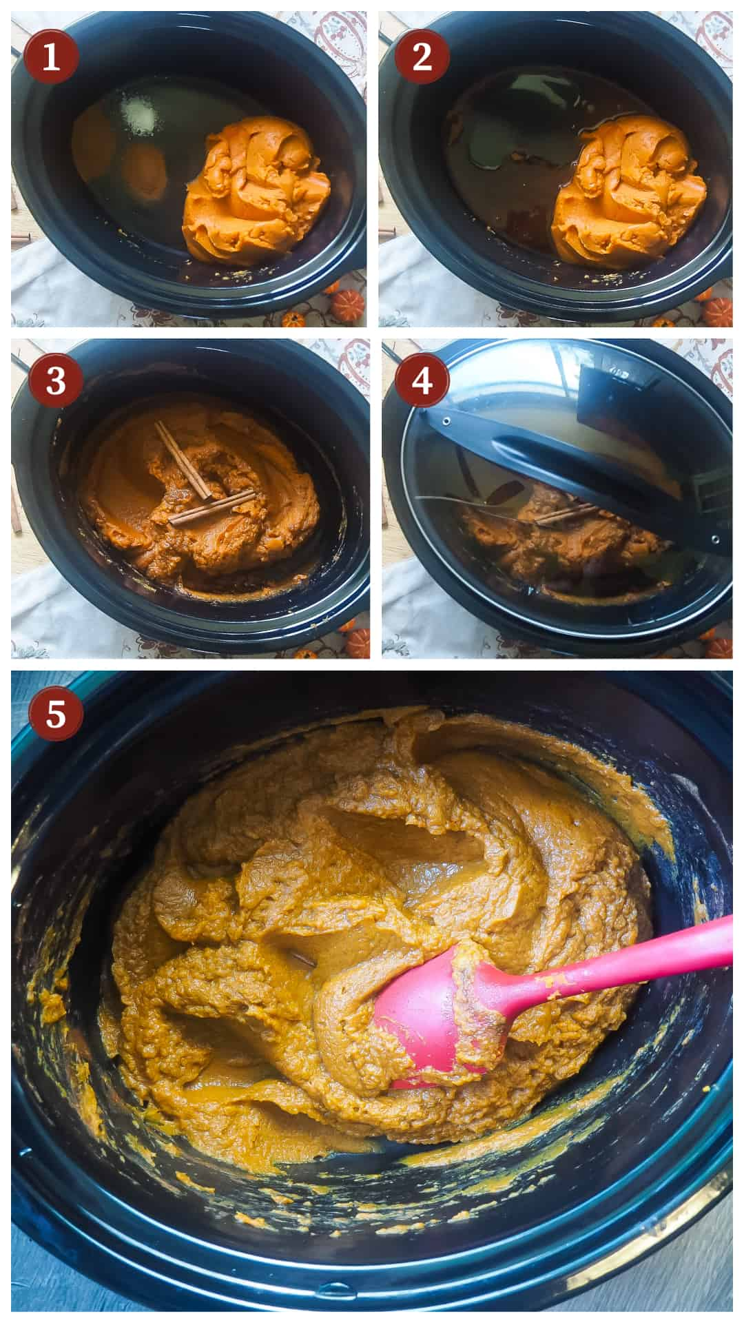 a collage of images showing the process of making pumpkin butter in a slow cooker, steps 1 - 5