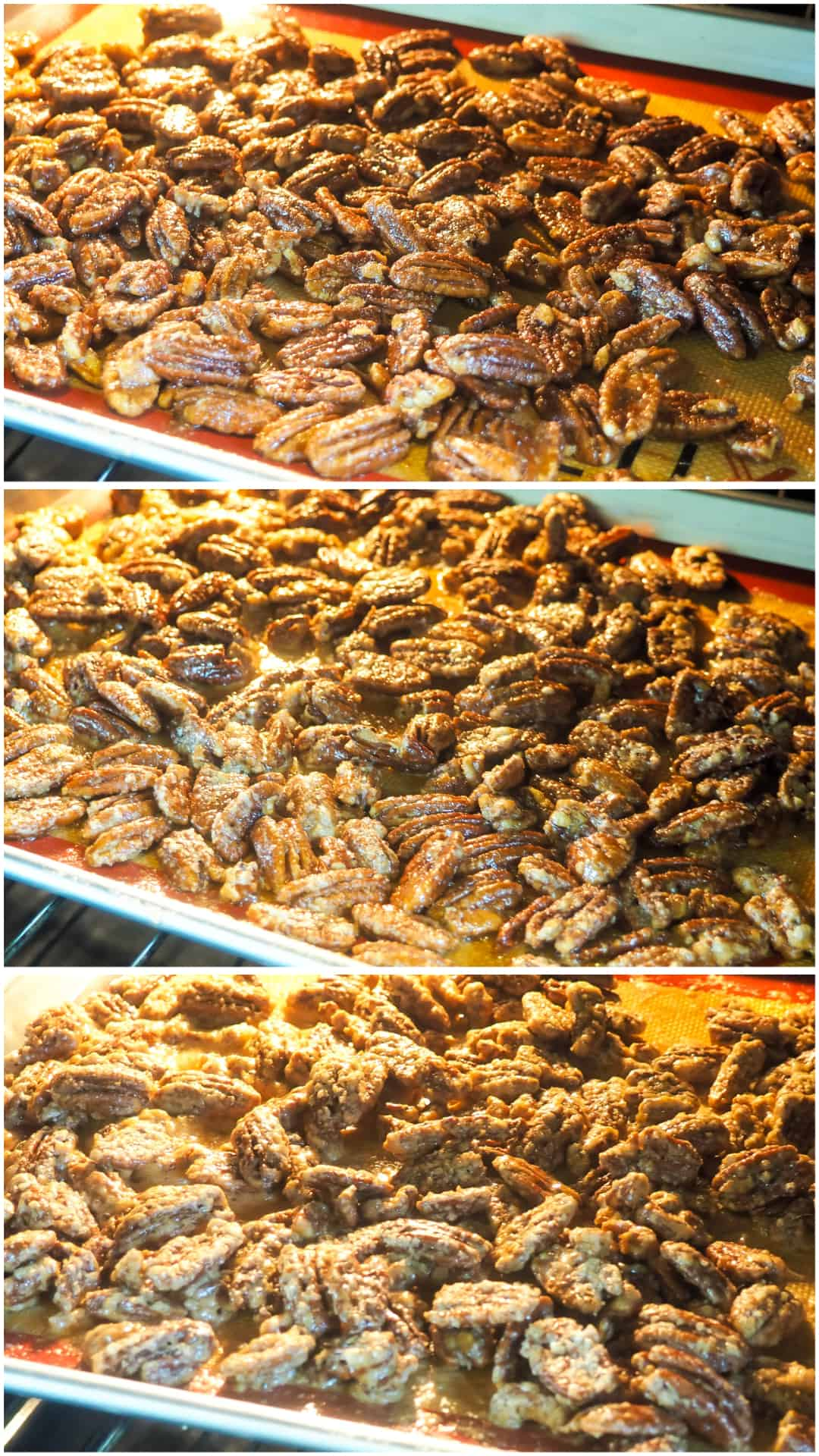 three images in a column showing the stages of candied pecans baking.