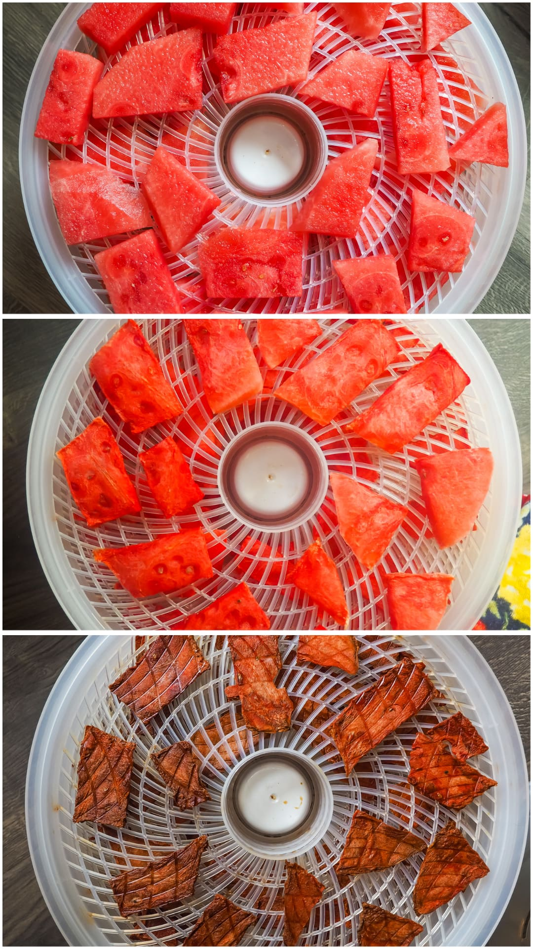 Three images showing the progression of watermelon as it is dehydrating.