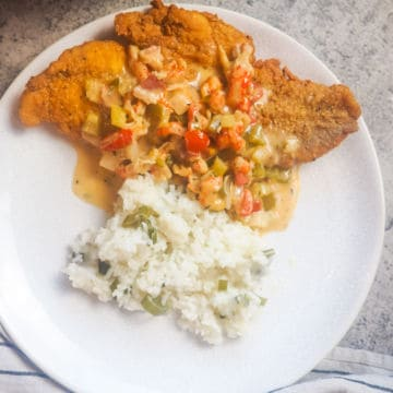 a white plate with fried catfish, crawfish etouffee, and green onion rice on it