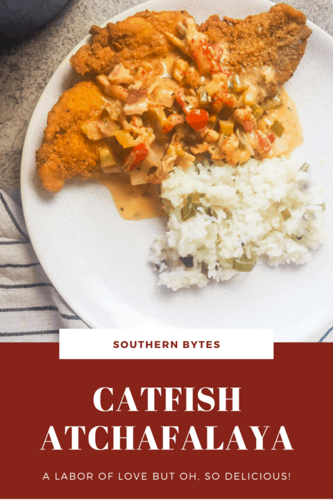 a pin image of a white plate with fried catfish, crawfish etouffee, and green onion rice on it