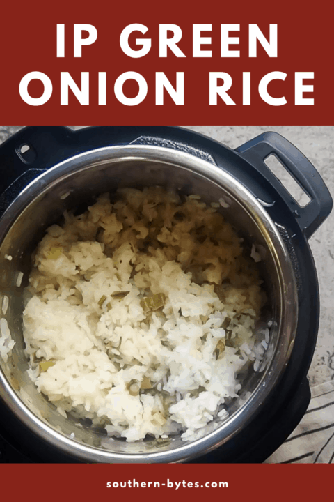 a pin image of an instant pot with green onion rice in it
