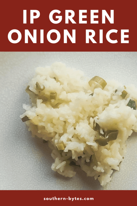 a white plate with green onion rice on it
