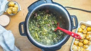 an instant pot of collard greens next to a pan of fried chicken balls.