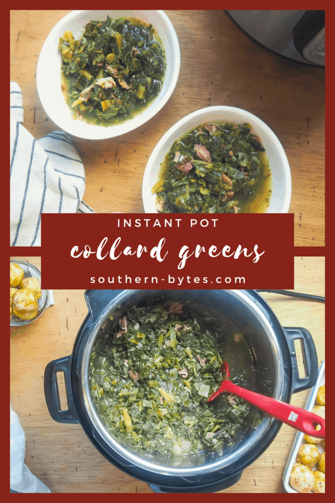 a pin image of instant pot collard greens with a text overlay.