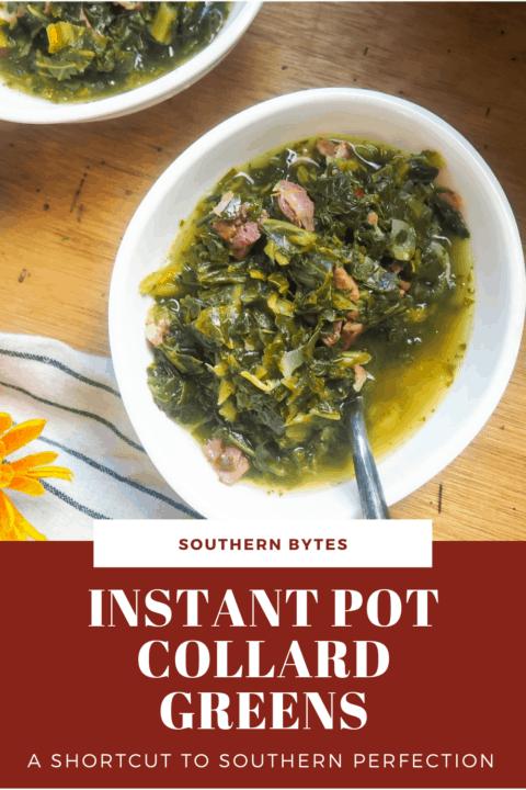 a pin image of a bowl of instant pot collard greens.