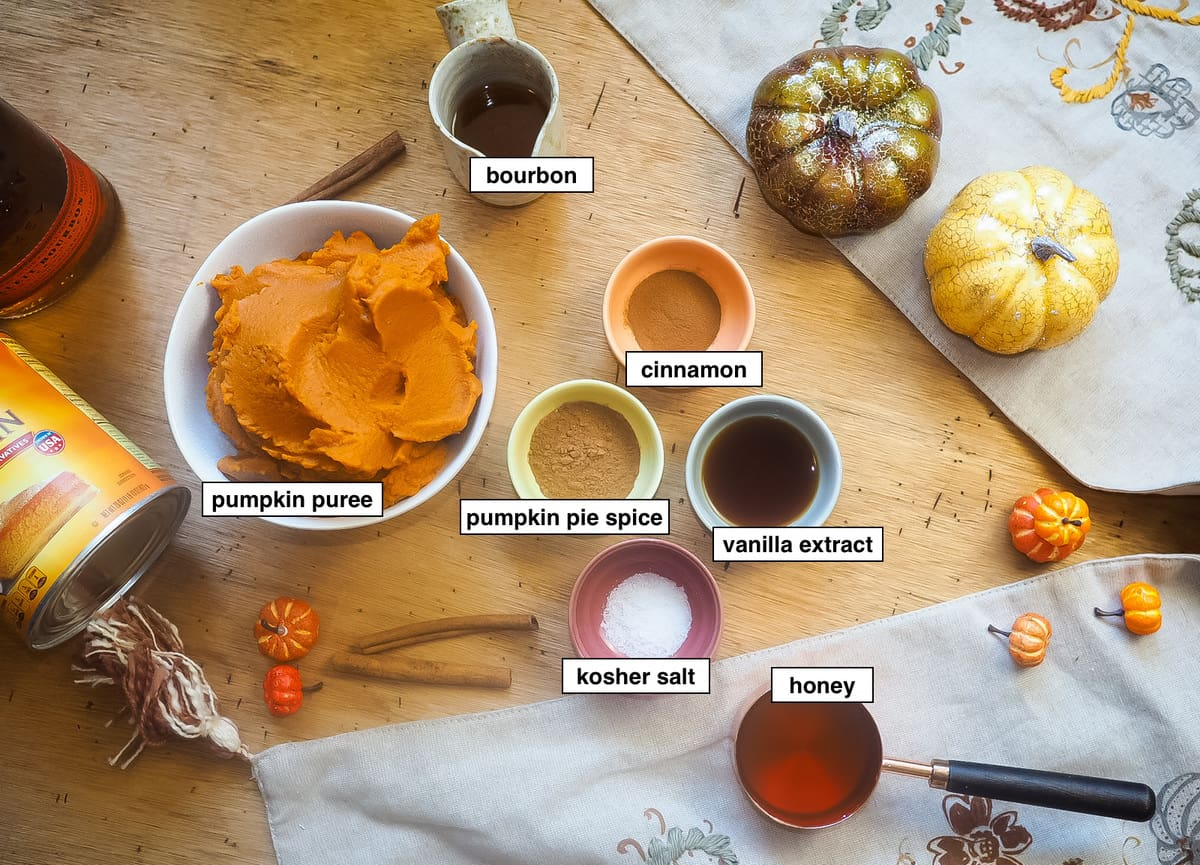 the ingredients in bourbon pumpkin butter, labeled