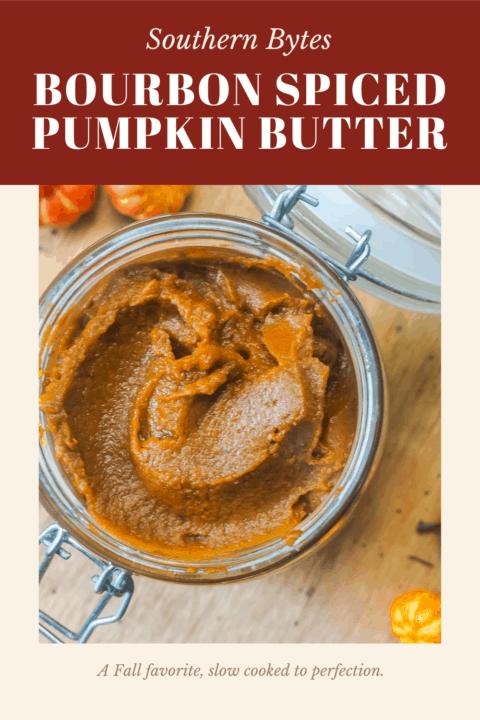 a pin image of a jar of pumpkin butter