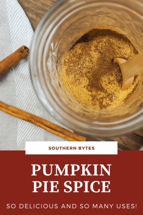 A pin image of a jar of pumpkin pie spice and a small wooden spoon with text overlay.