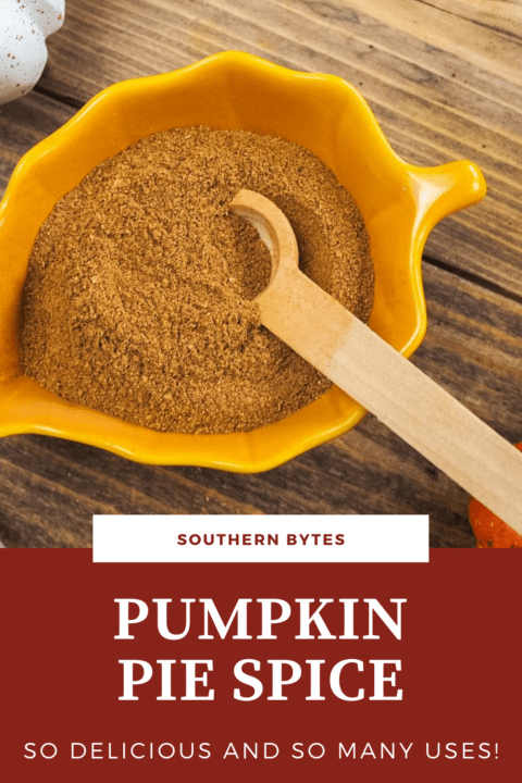 A pin image of yellow bowl shaped like a leaf with pumpkin pie spice seasoning in it and a small wooden spoon with text overlay.