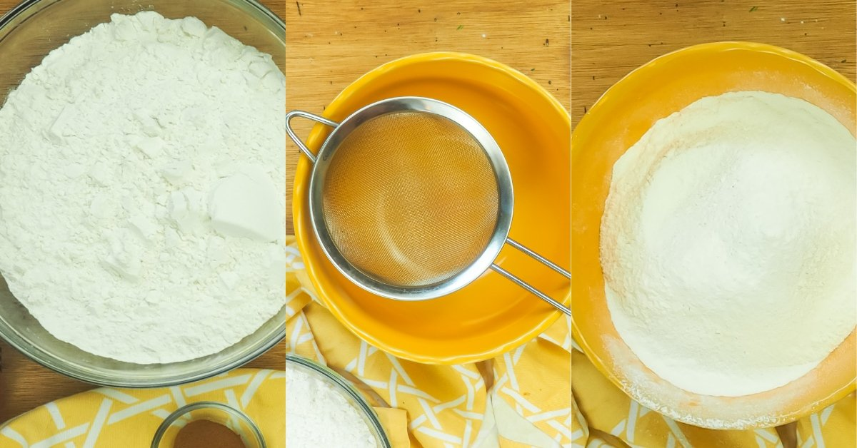 A horizontal collage of images showing how to sift flour and sugar for cookie dough.