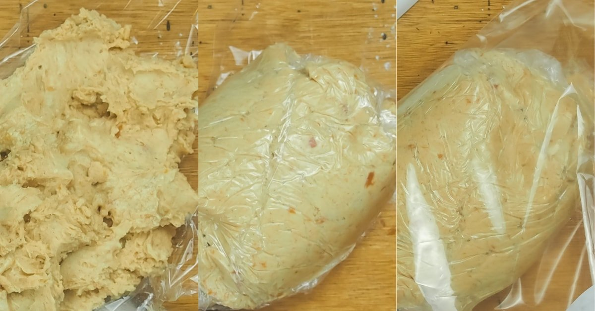 A horizontal collage of images showing the steps to refrigerate snickerdoodle dough.