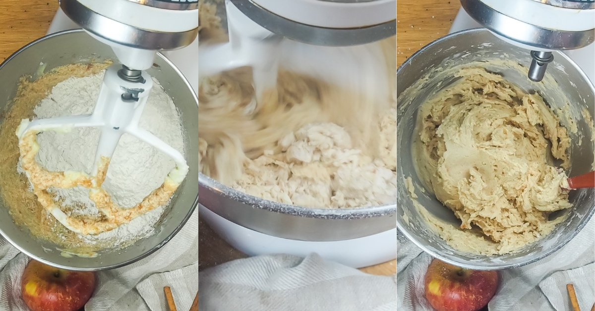 A horizontal collage of images showing how to mix flour into snickerdoodle dough.