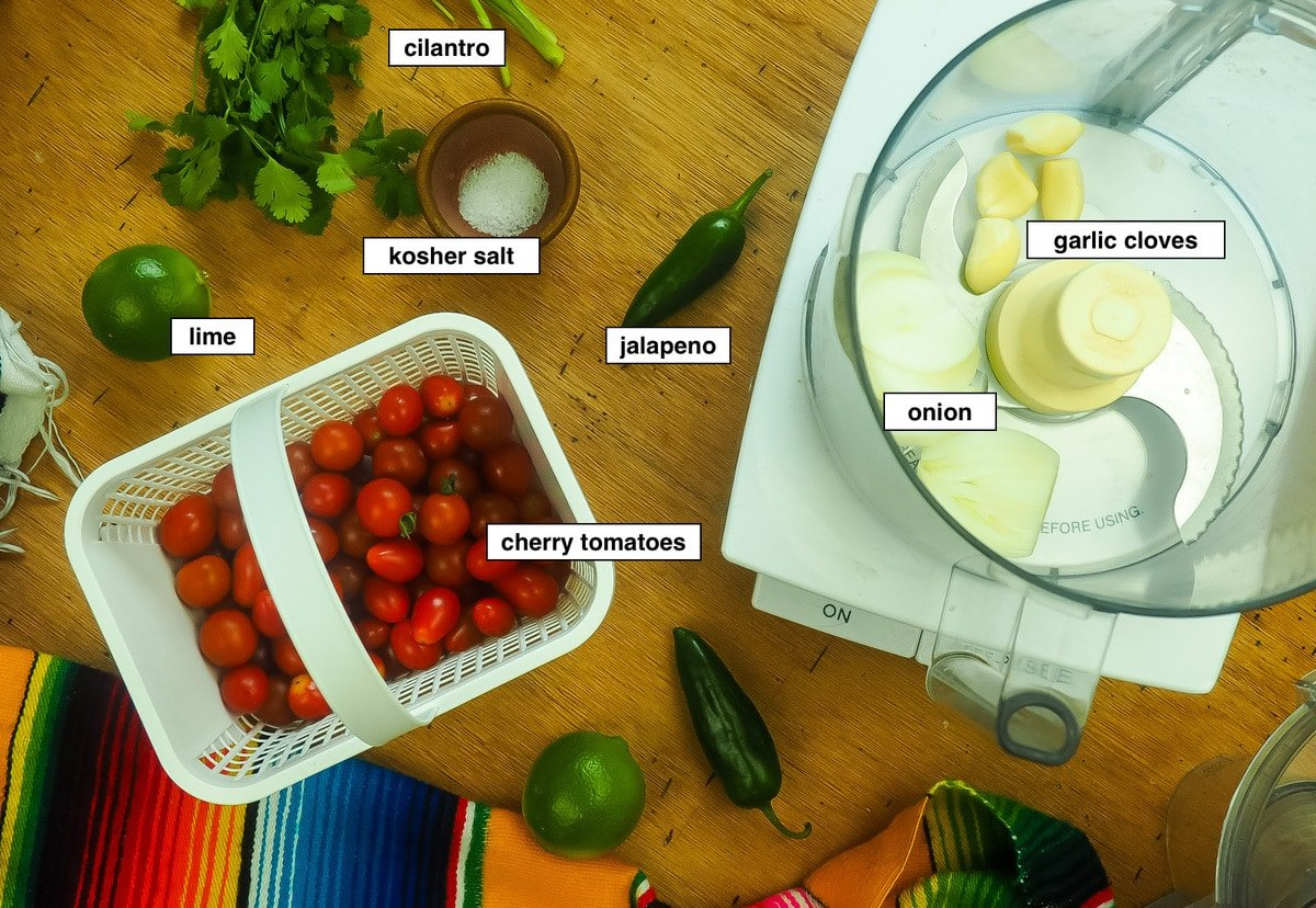 The ingredients for cherry tomato salsa, labeled.