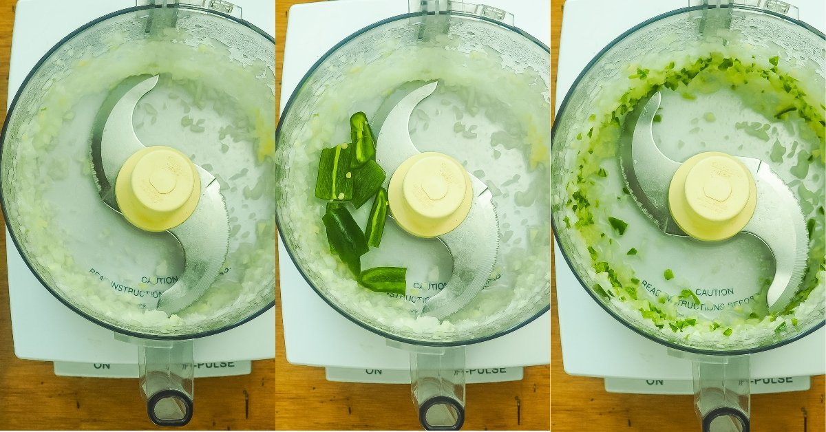 a horizontal collage of images showing how to make salsa, blending onions, garlic, and jalapeño.
