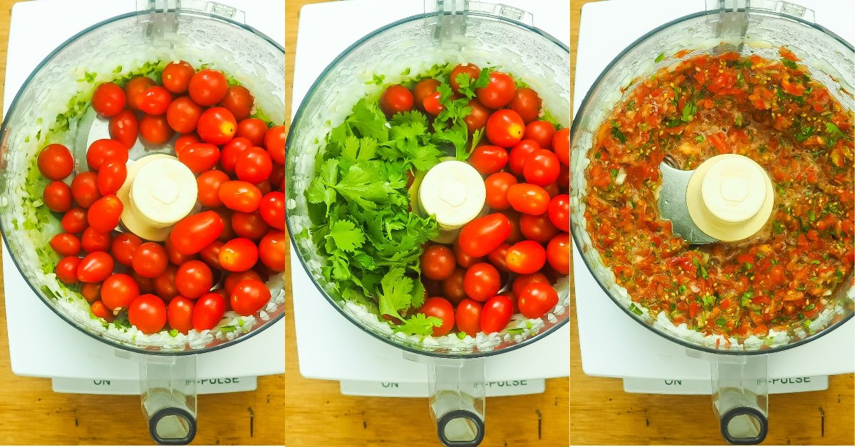 a horizontal collage of images showing how to make salsa, blending cherry tomatoes and cilantro.