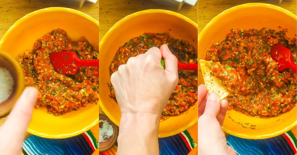a horizontal collage of images showing how to make salsa, adding lime juice and salt.