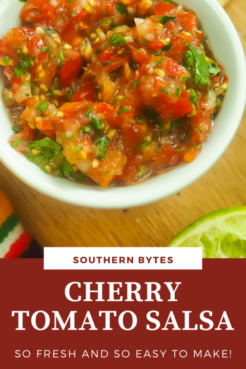 A pin image of a white bowl of cherry tomato salsa.