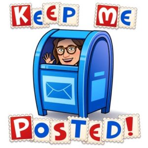 a bitmoji of a brown haired girl in a blue mailbox that says keep me posted.