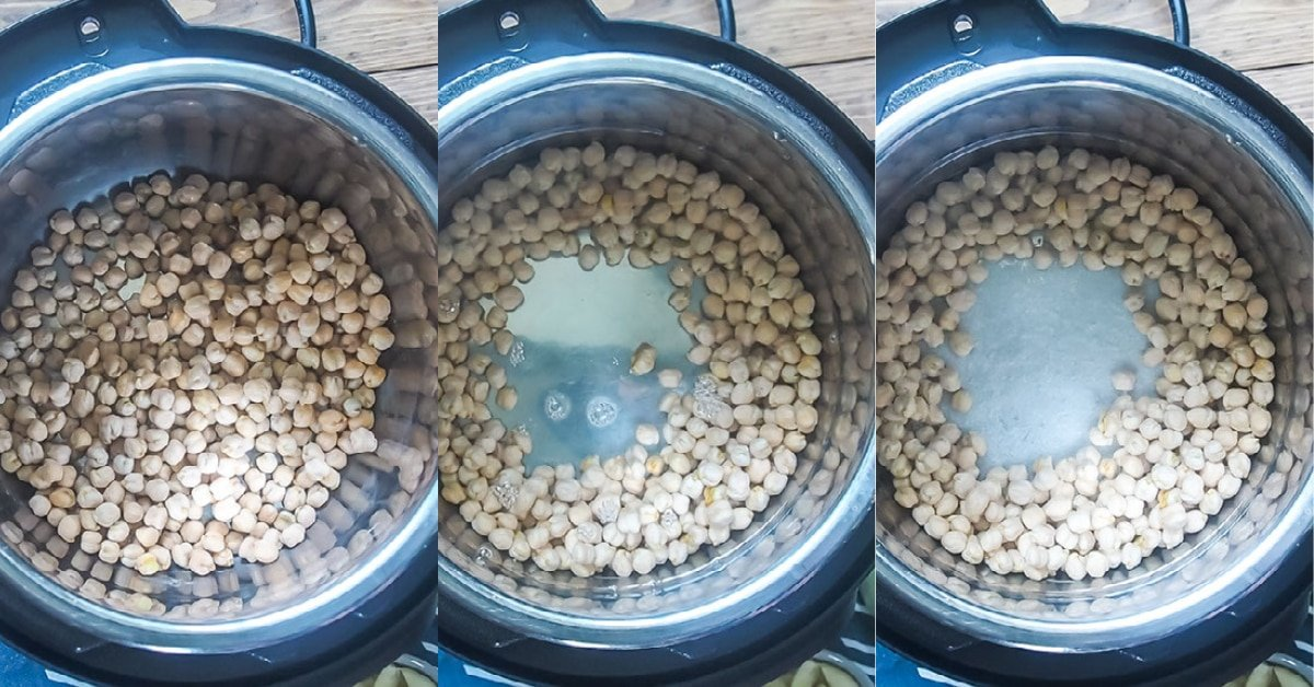 Three images showing the process of cooking dried garbanzo beans in an instant pot.