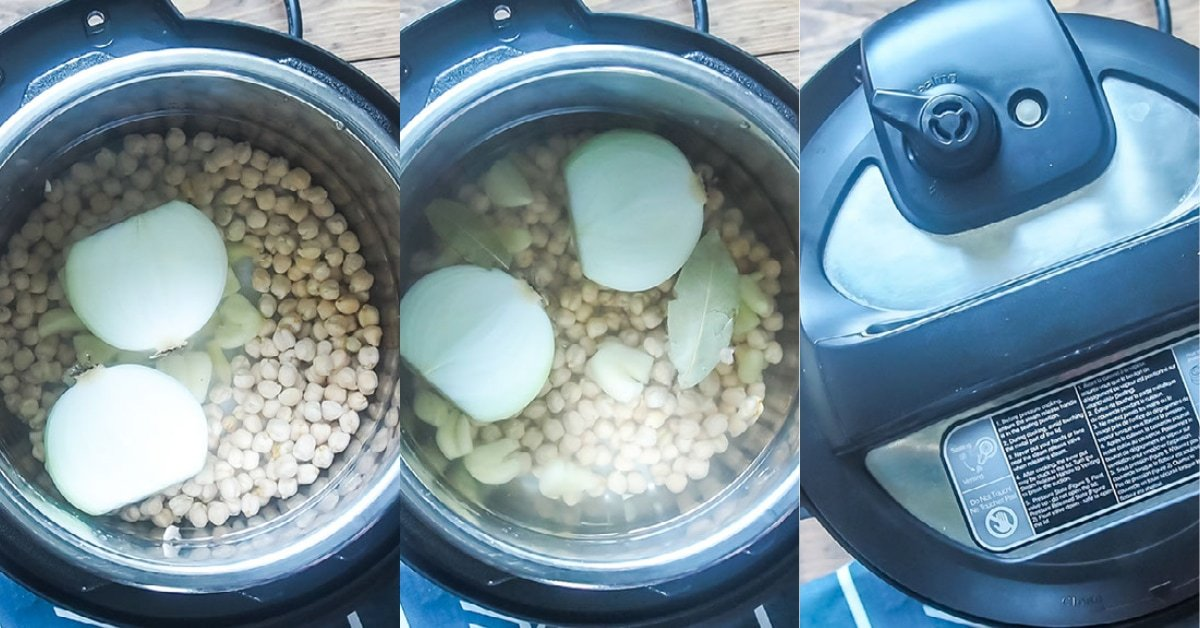Three images showing the process of cooking dried chickpeas in an instant pot.