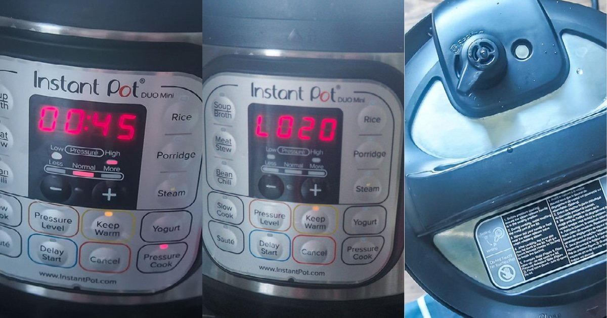 Three images showing the process of cooking chickpeas in an Instant Pot.