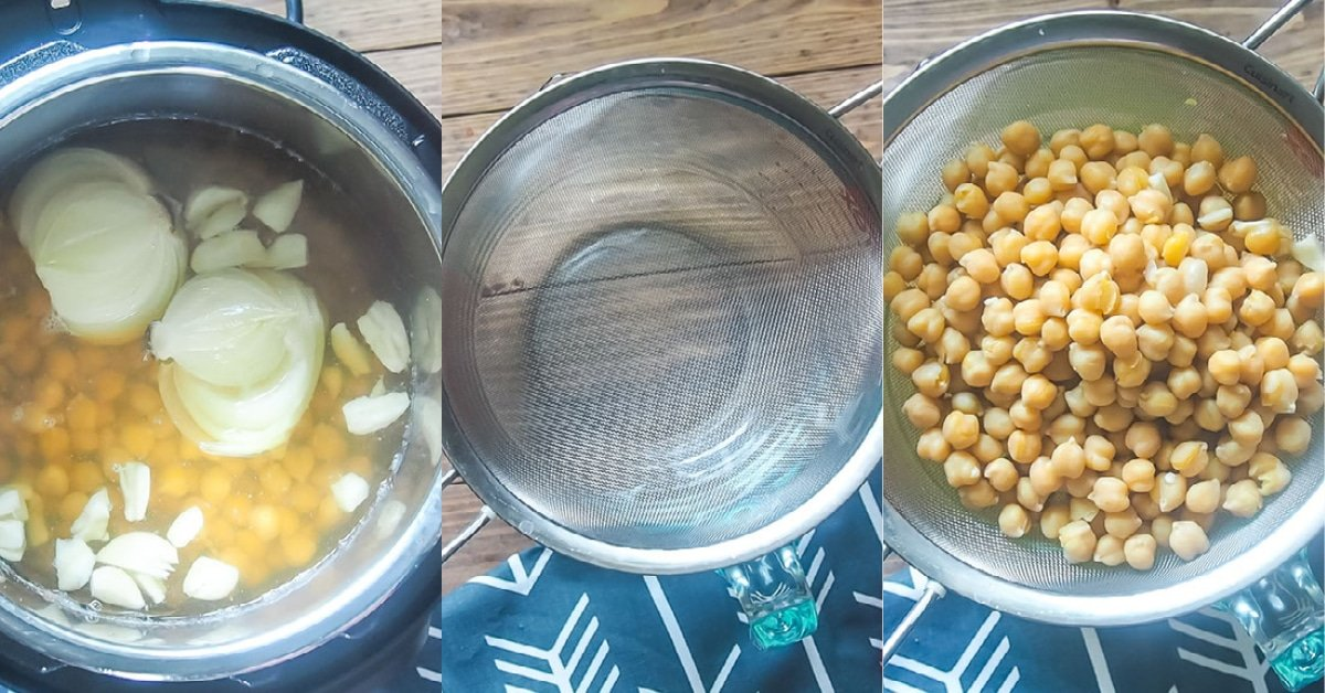 Three images showing the process of straining Instant Pot chickpeas.