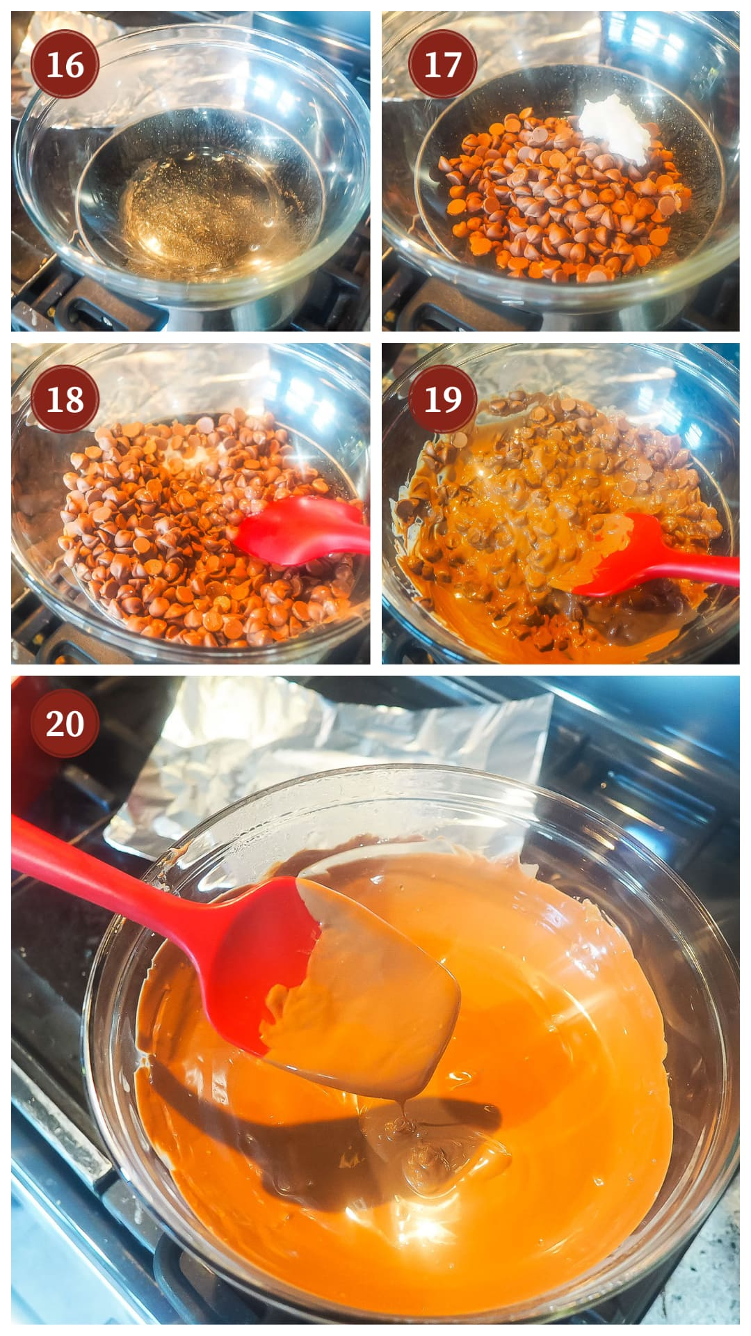 A process collage of how to melt chocolate chips over a double boiler.