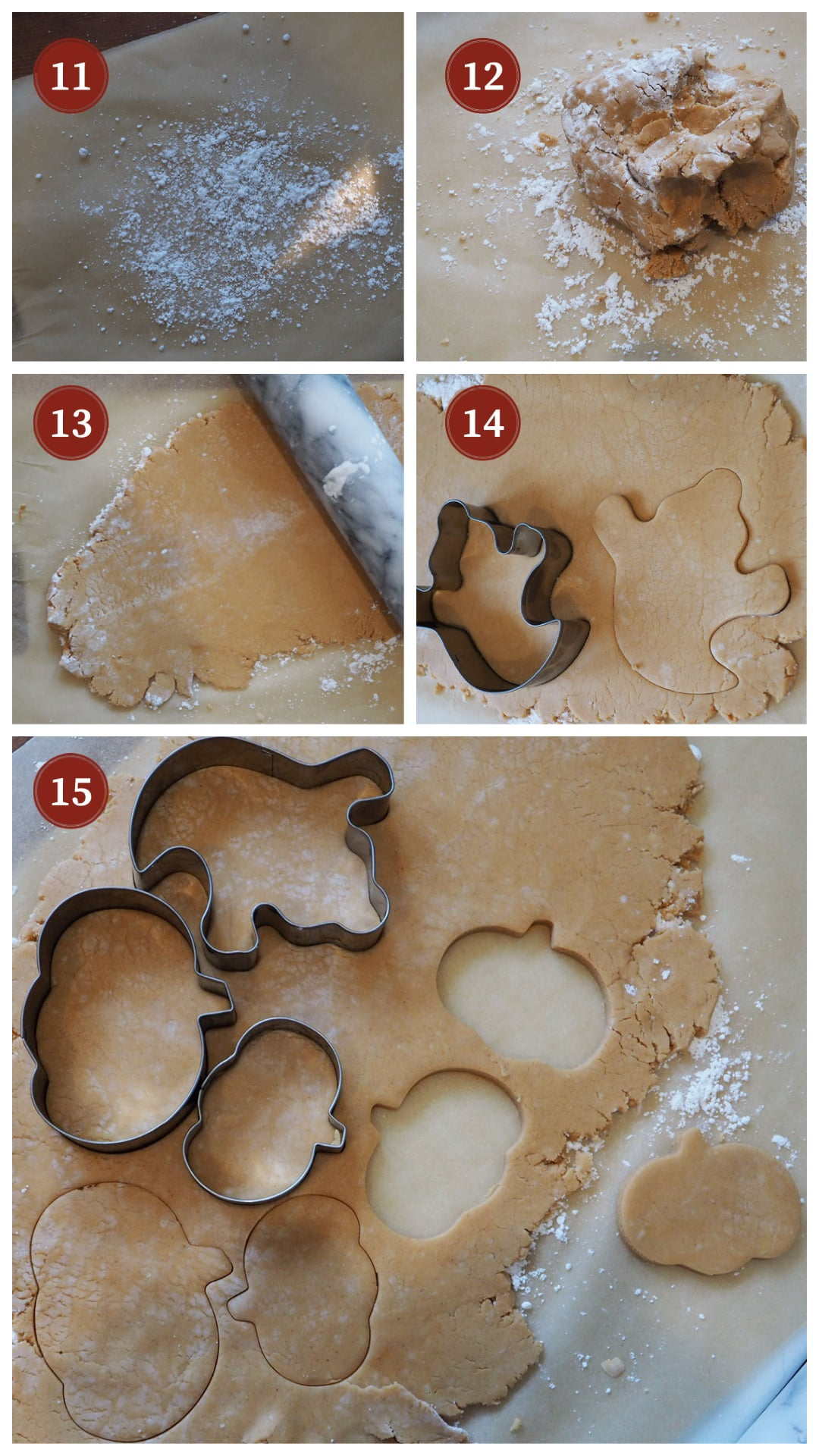 A collage of images showing how to roll out the dough for homemade peanut butter cup shapes, steps 11 - 15.