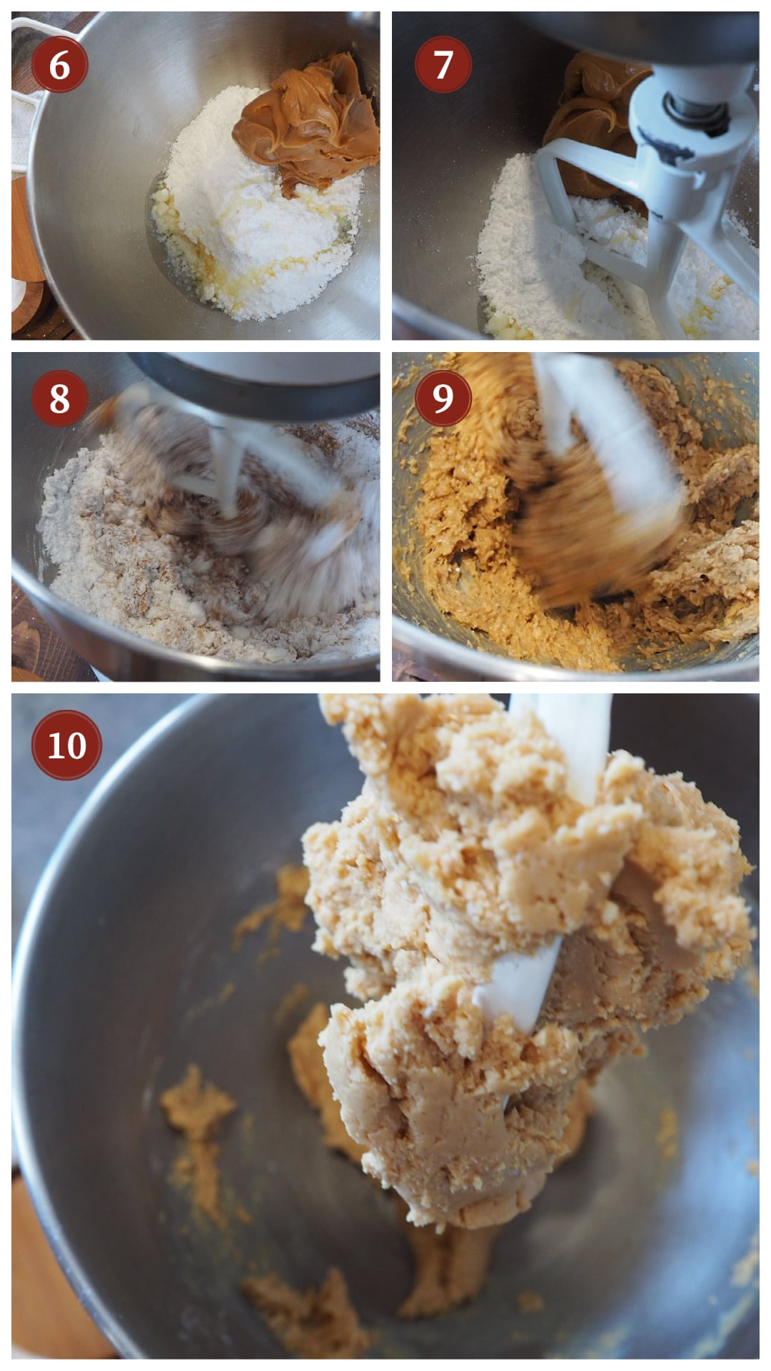 A collage of images showing the texture of the dough in a homemade peanut butter cup, steps 6 - 10.