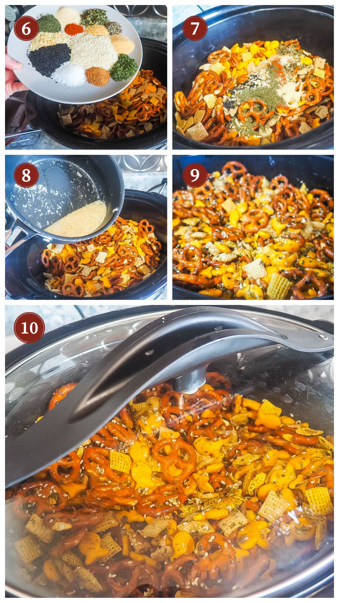 A process collage of images for making chex party mix, steps 6 - 10.