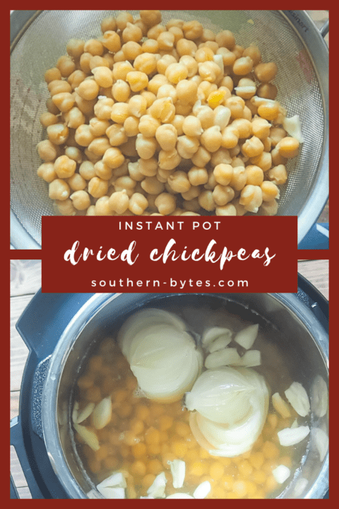 A pin image with two images of cooked chickpeas, one with chickpeas in a metal strainer with a blue napkin and one in an instant pot.