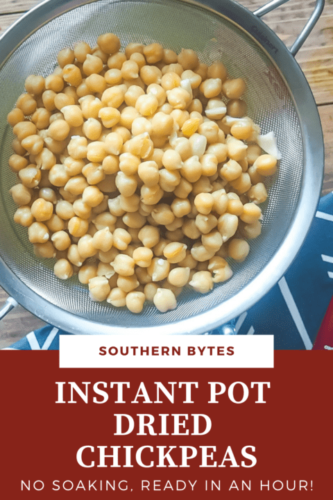 A pin image of cooked chickpeas in a metal strainer with a blue napkin.