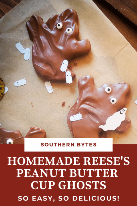 A pin image of homemade Reese's peanut butter cup ghosts.