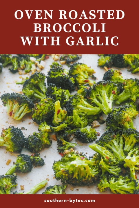 A pin image of a cookie sheet with roasted broccoli and garlic on it.