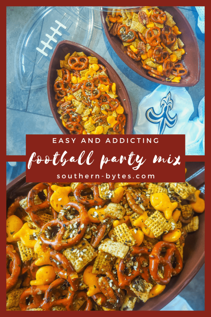 A pin image of three football shaped bowl of party mix with pretzels, chex, and goldfish with text overlay.
