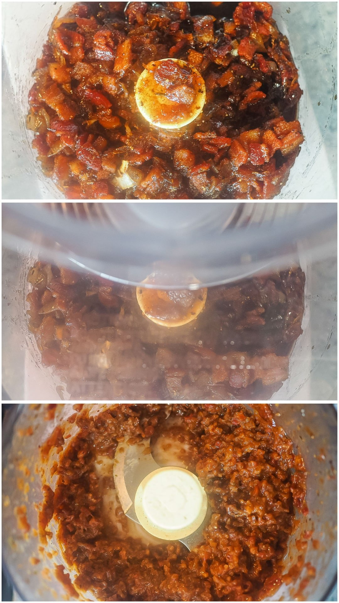 A collage of images showing how to make bacon jam.
