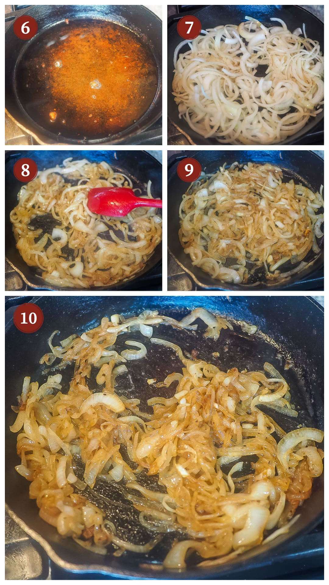 A collage of images showing how to make bacon onion jam steps 6 - 10.