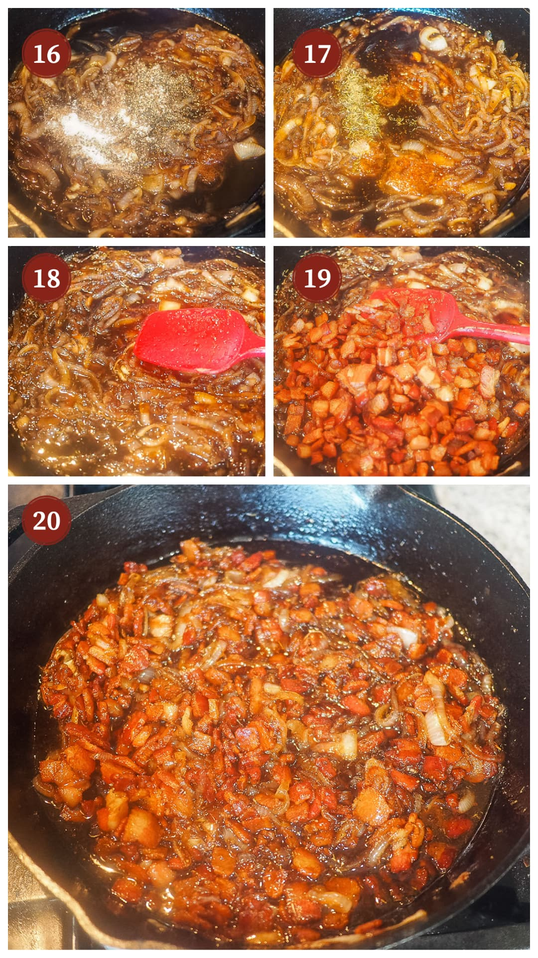 A collage of images showing how to make bacon onion jam steps 16 - 20.