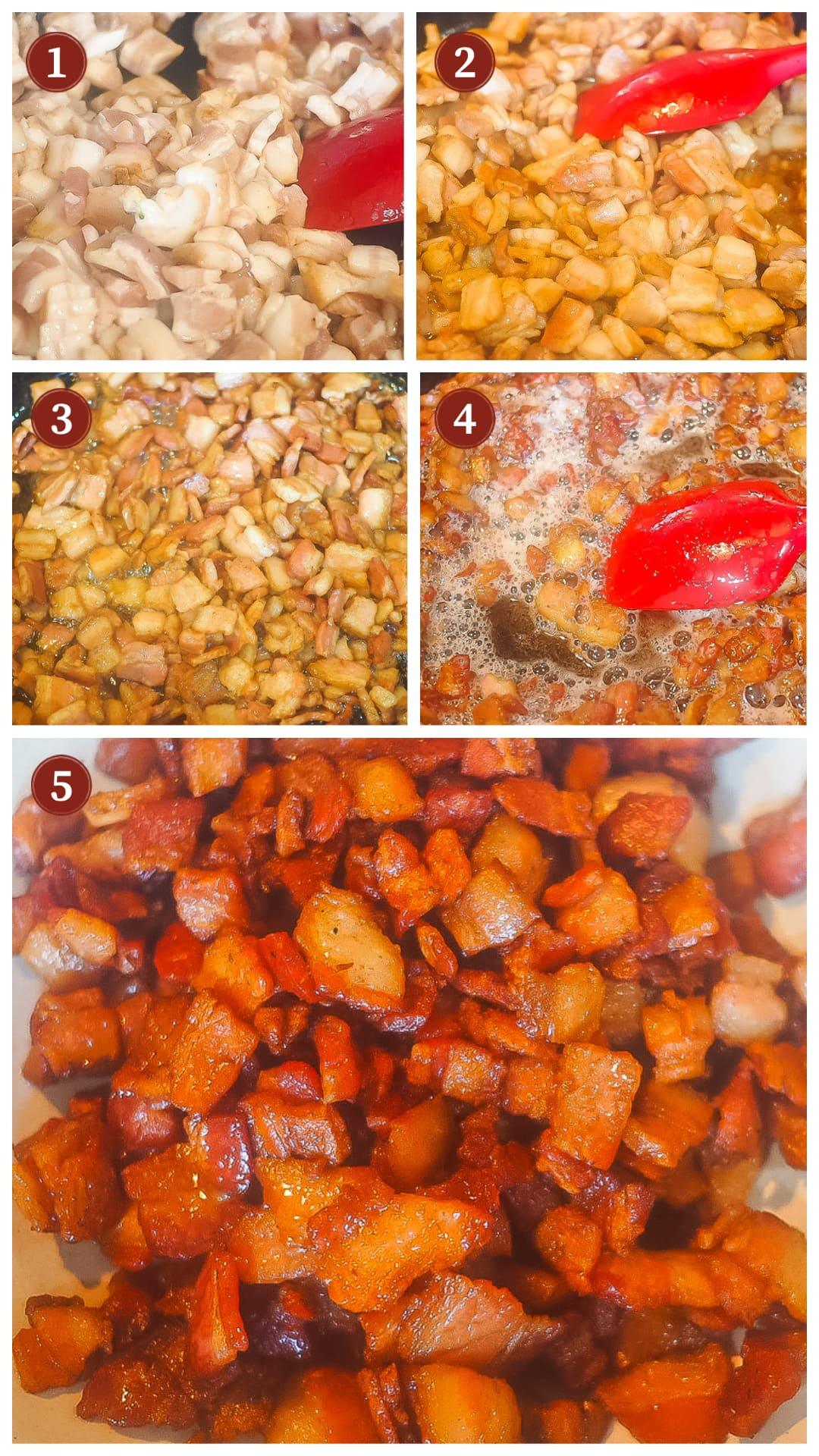 A collage of images showing how to make bacon onion jam steps 1 - 5.