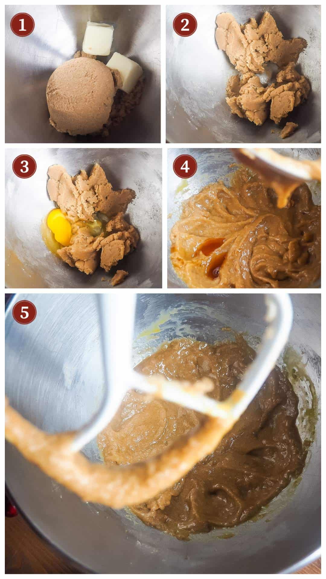 A collage of images showing the process of making cranberry orange muffins, steps 1 - 5.