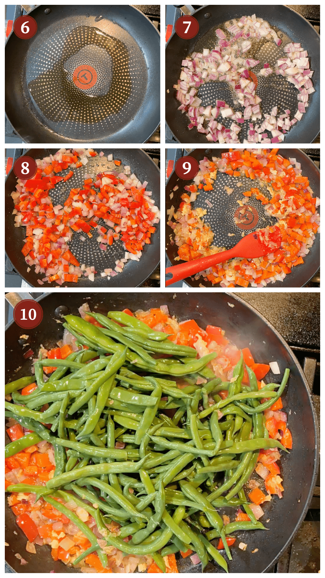 A collage of images showing how to saute ginger garlic green beans, steps 6 - 10.