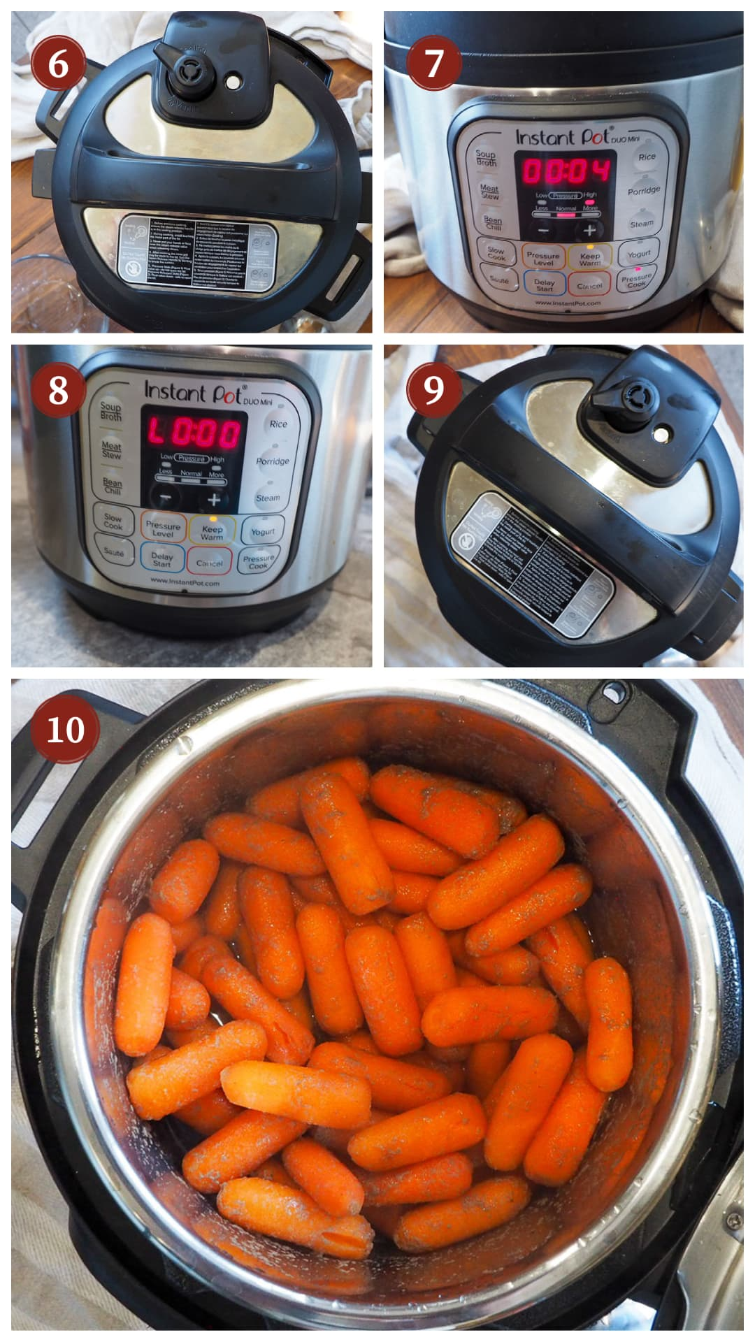 A collage of images showing how to make glazed carrots in an instant pot, steps 6 - 10.