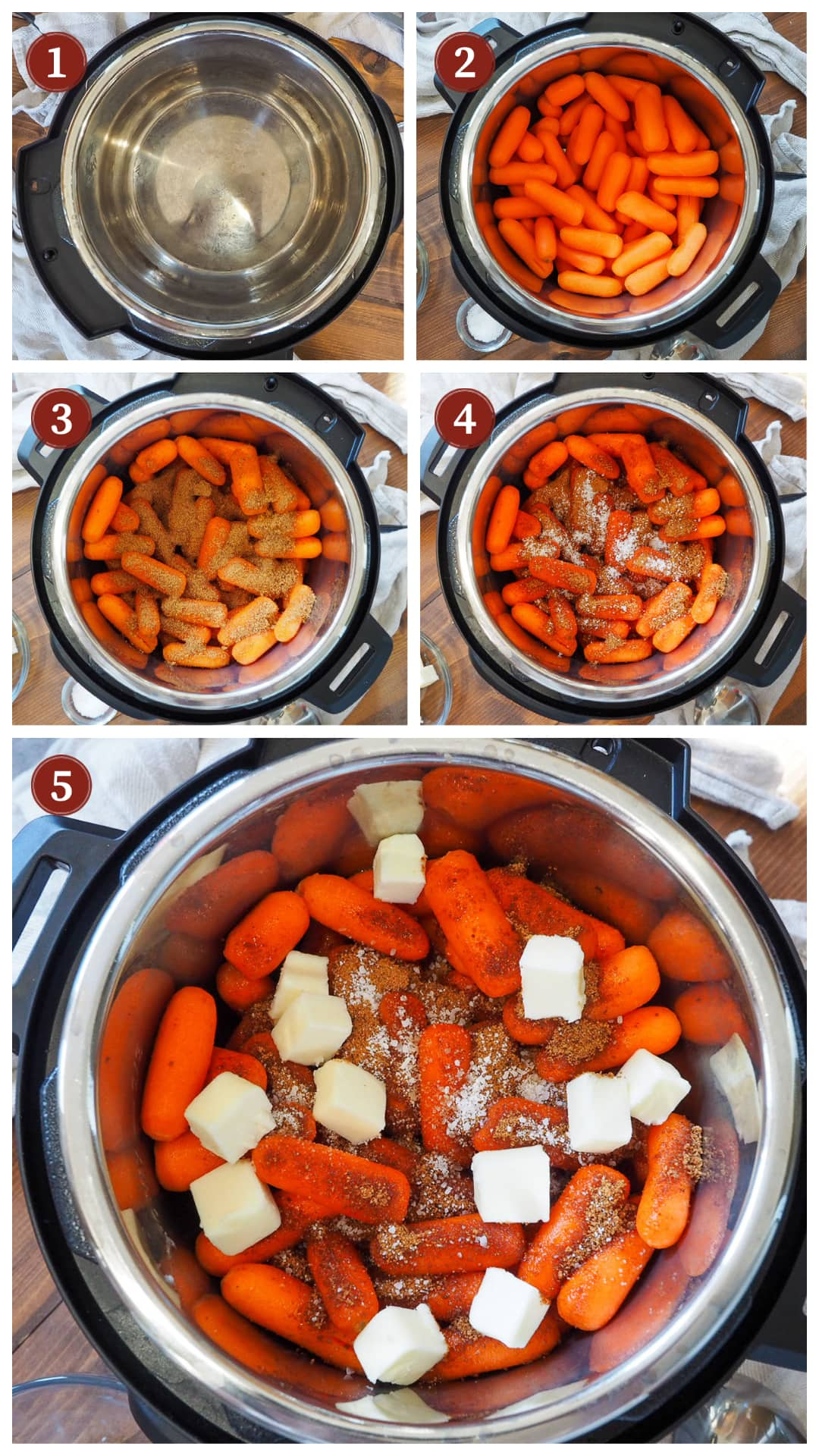 A collage of images showing how to make glazed carrots in an instant pot, steps 1 - 5.